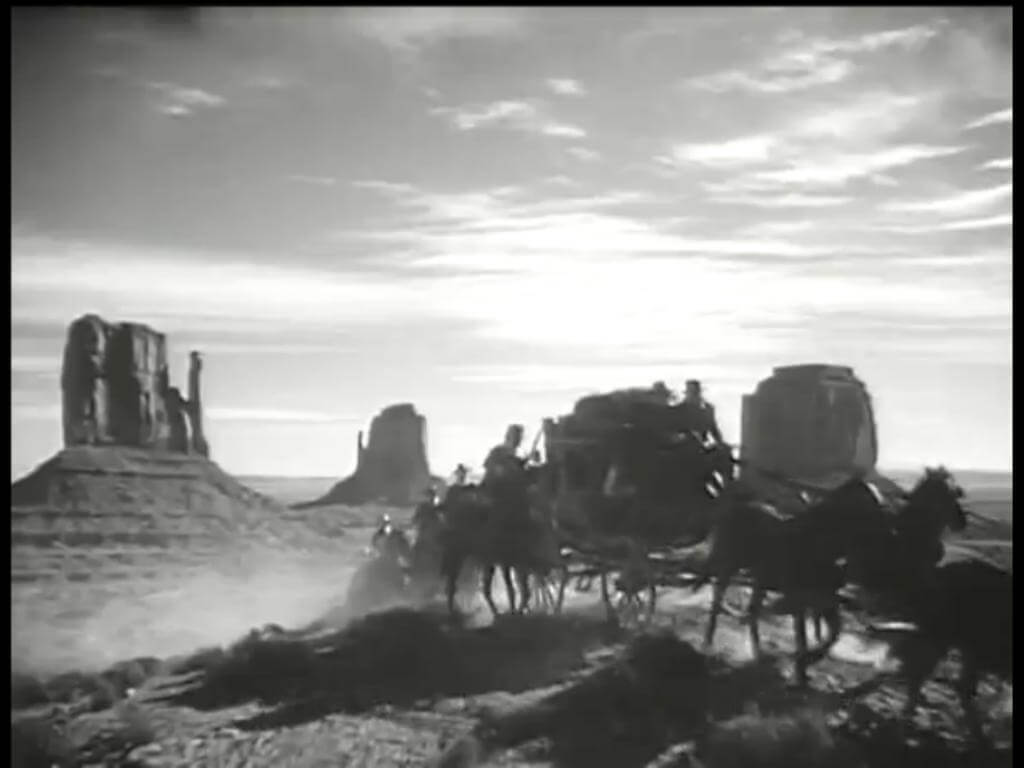 A still from John Ford's Stagecoach movie filmed in Monument Valley.