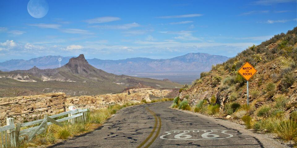 Route 66 desert road in Arizona.