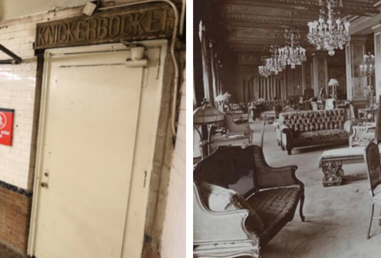 Old images of the lounge at the Knickerbocker Hotel and it's current door acting as a subway entrance.