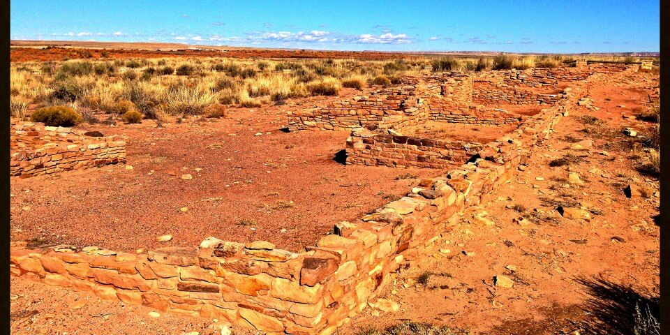 Ancient 8,000 year-old Arizona ruins in the Petrified Forest.