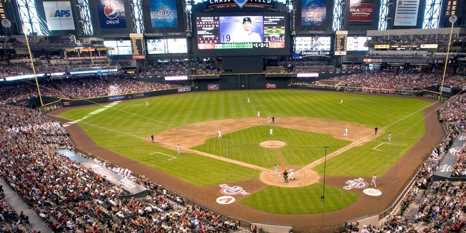 The Arizona Diamondbacks play ball inside Chase Field in Phoenix.