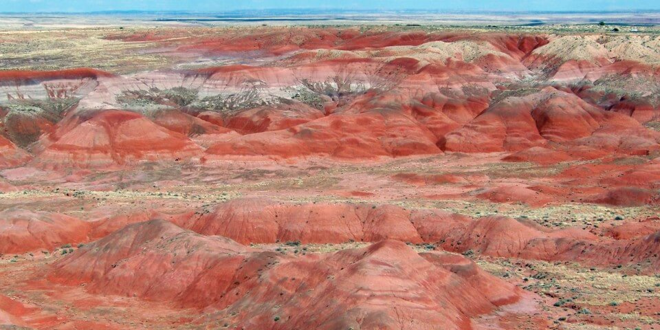 Red and pink chinle formation in the Petrified Forest Arizona.