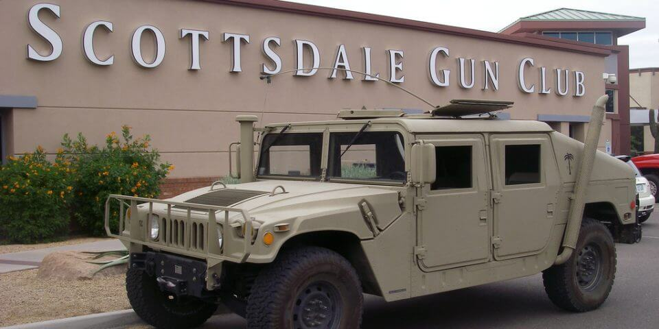 A hummer parked outside the Scottsdale Gun Club.