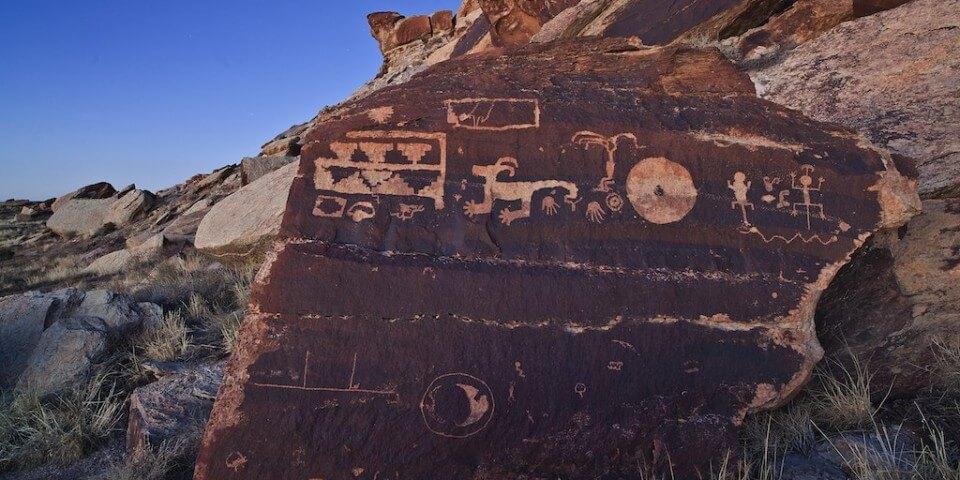 Petroglyphs on a rock in the Petrified Desert.