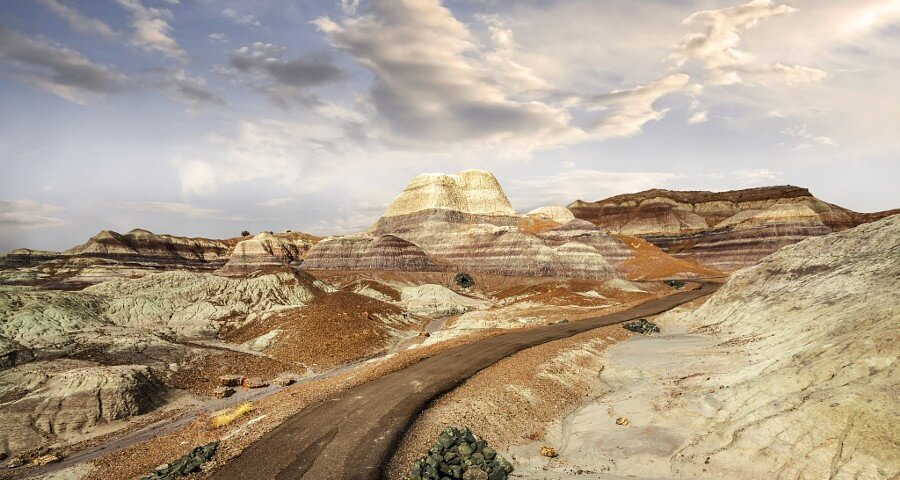 Beautiful rock and mountain formations in the Painted Desert Arizona.