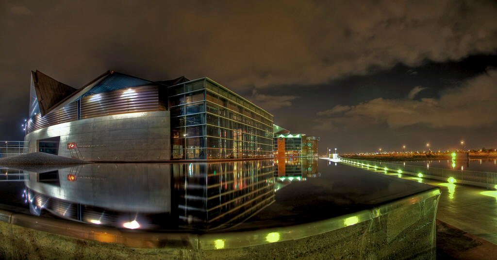 Exterior night time shot of the Temoe Center for the Arts. Flickr User Jason Corneveaux