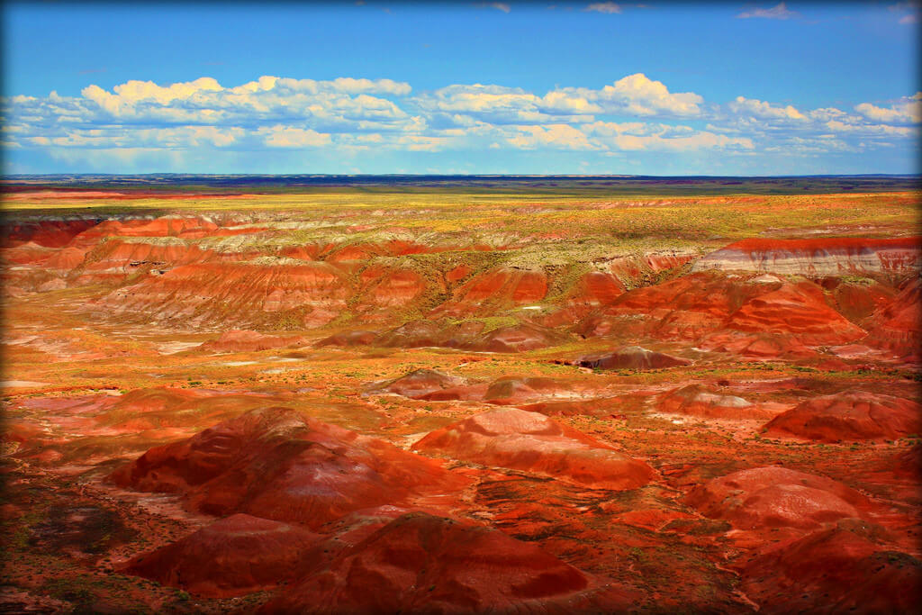 The Painted Desert glows orange under a blue sky.
