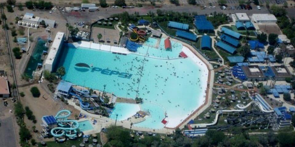Aerial shot looking down at the wave pool at Big Surf water park in Tempe. Flickr User Shane Phillips