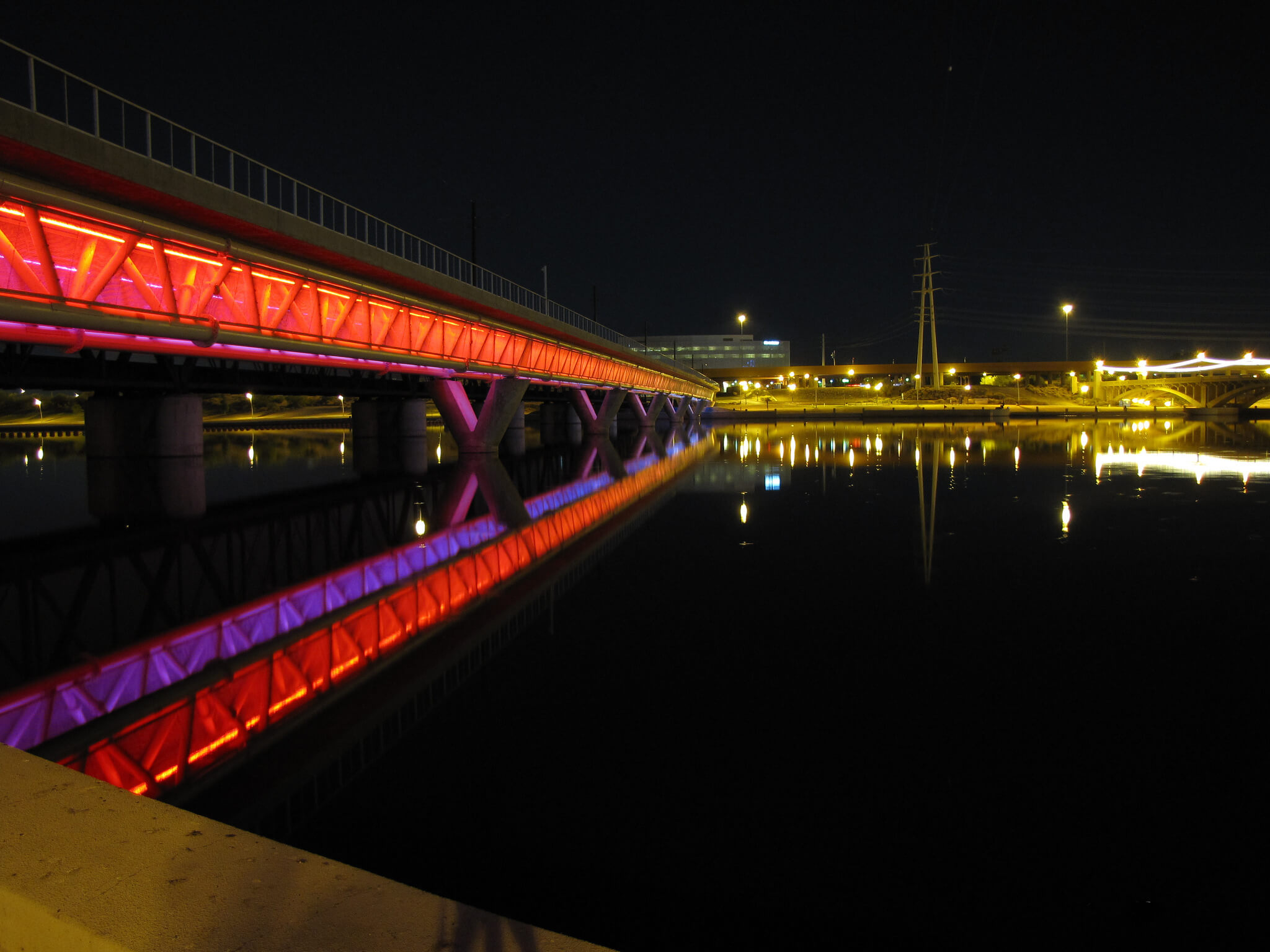 Night shot of the bridge at Tempe Beach Park. Flickr User Jeff M