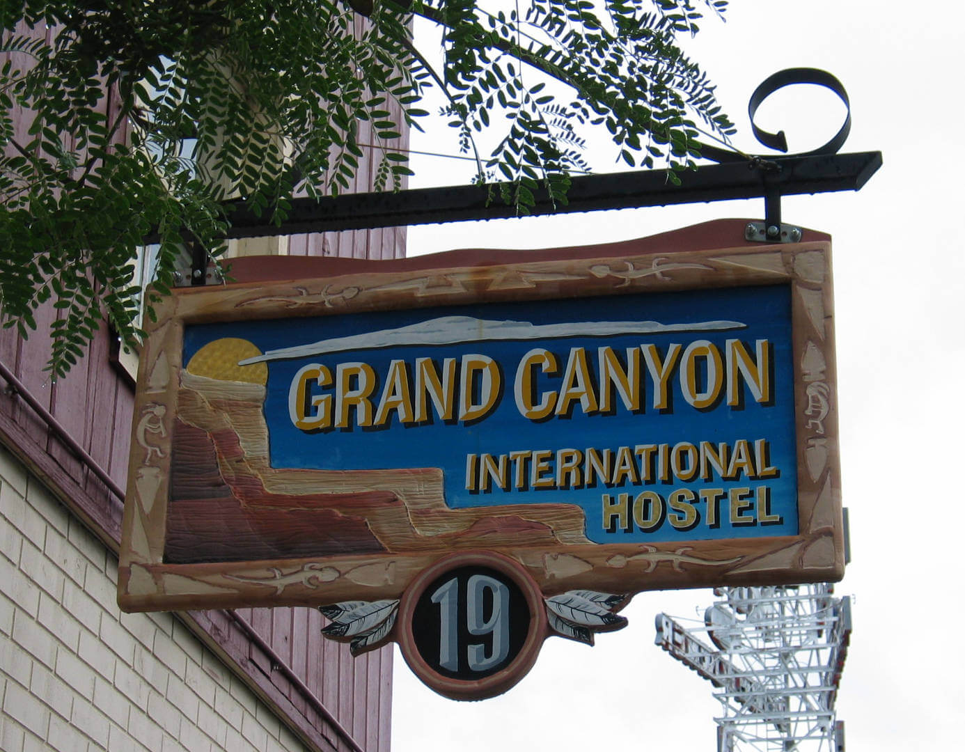 Sign for the Grand Canyon International Hostel in Flagstaff, Arizona.