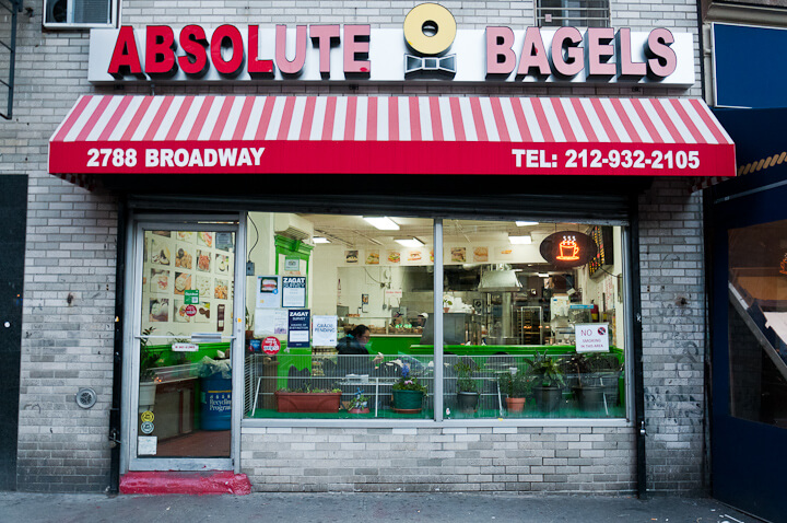Absolute Bagels storefront in New York.