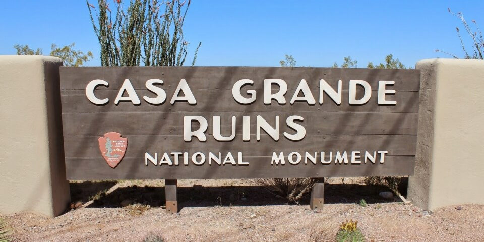 The sign outside of the Casa Grande Ruins National Monument in Arizona.