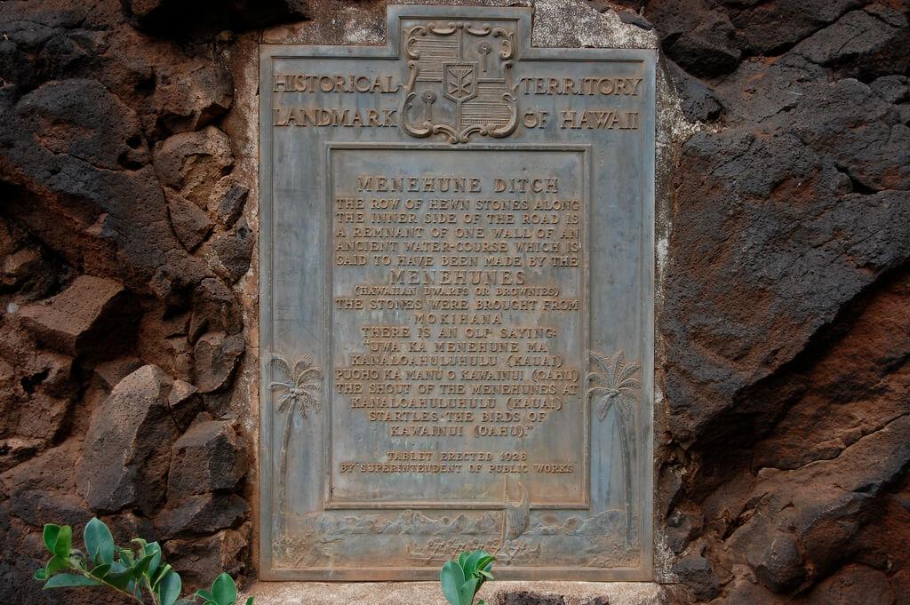 Historical Territory Landmark of Hawaii for the Menehune Ditch.
