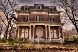 Exterior of McPike Mansion in Alton, Illinois. It is regarded as one of the most haunted places in Illinois. Backbeat Photography