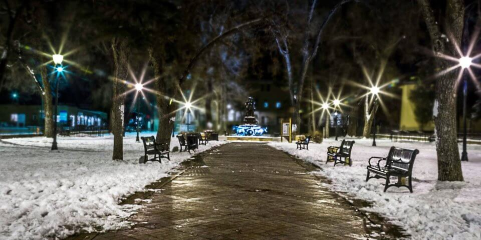 The Santa Fe Plaza during the winter - Photo by DeeAnn Chavez