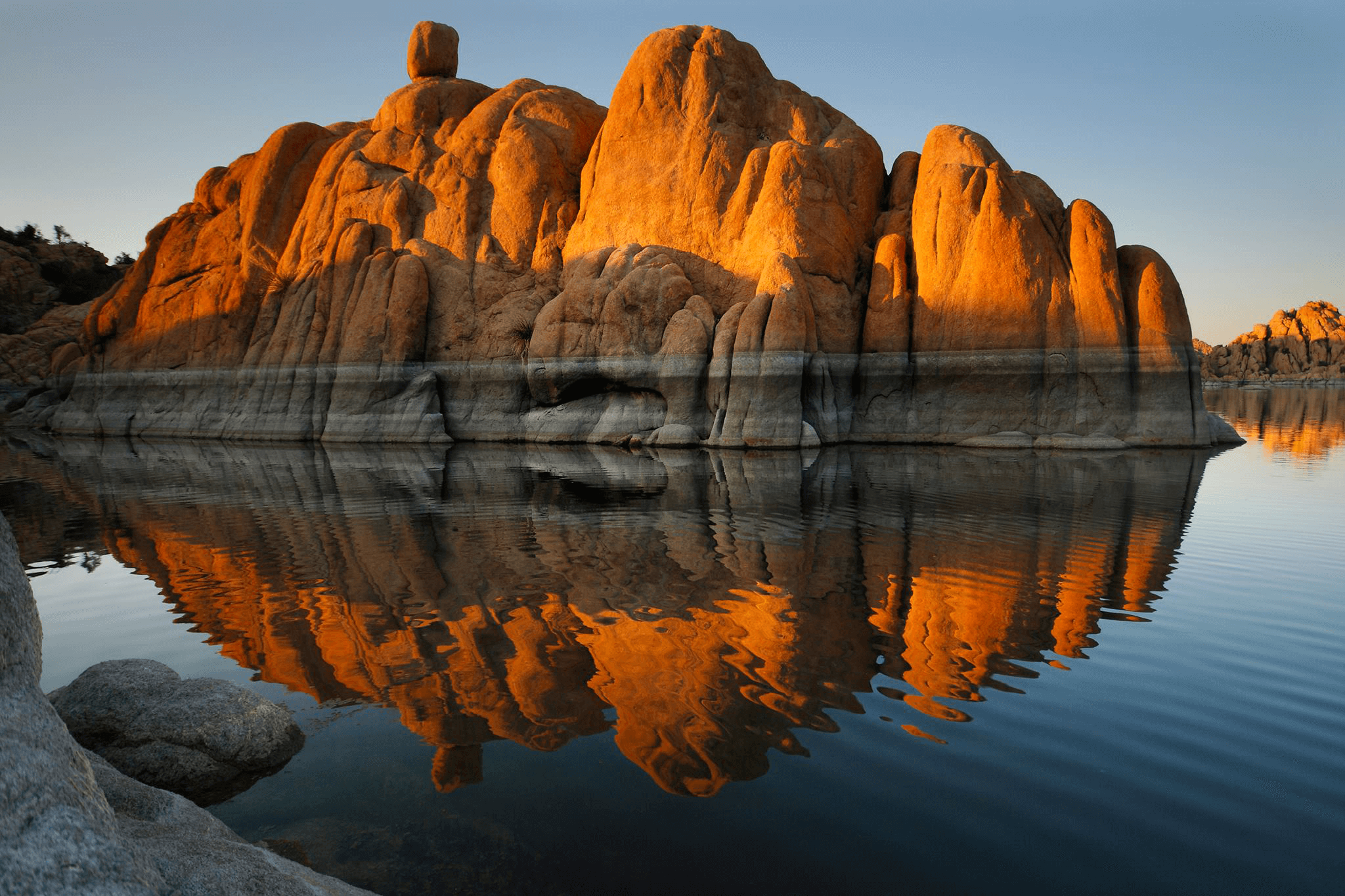 Watson Lake is beautiful with its exquisite rock formations that protrude through the water.