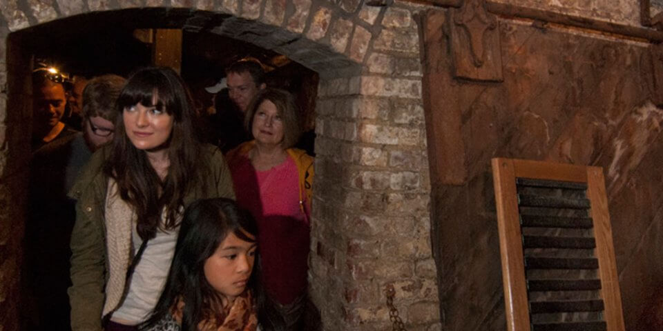 Bill Spiedel's Underground tour underway with tourists.