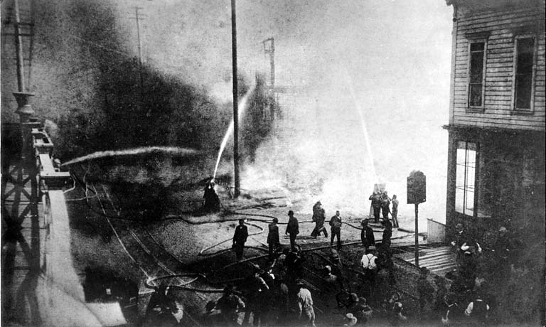 The start of the Great Seattle Fire