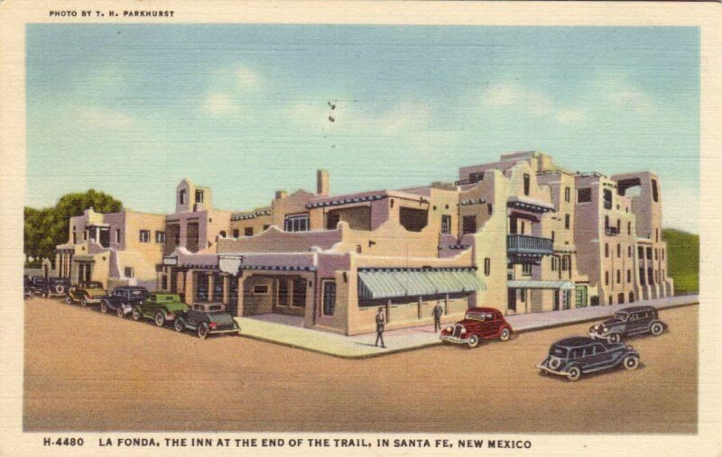 La Fonda Hotel in Santa Fe, New Mexico. This is a postcard.  One of the haunted places in New Mexico.  Photo provided by Jasperdo