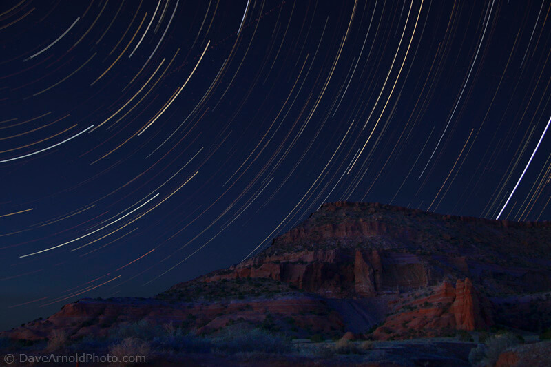 Star trails over Haystack Mountain on the Navajo Nation, McKinley County, New Mexico - Photo by Dave Arnold