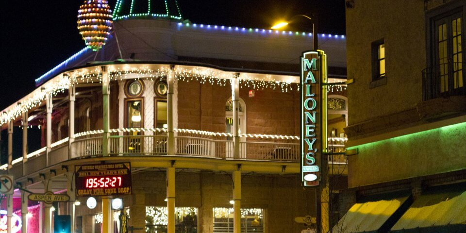 Downtown Flagstaff lit up at night.  Photo by Frederick Dennstedt