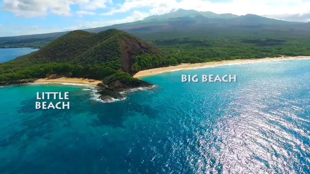 Aerial shot of Big beach and little beach in Makena, Maui HI