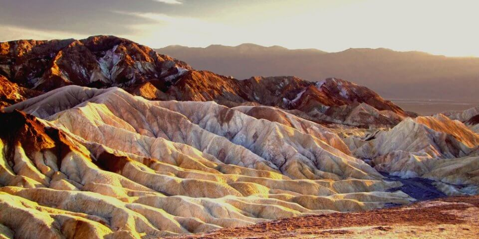 Brown and red hills in Death Valley National Park.