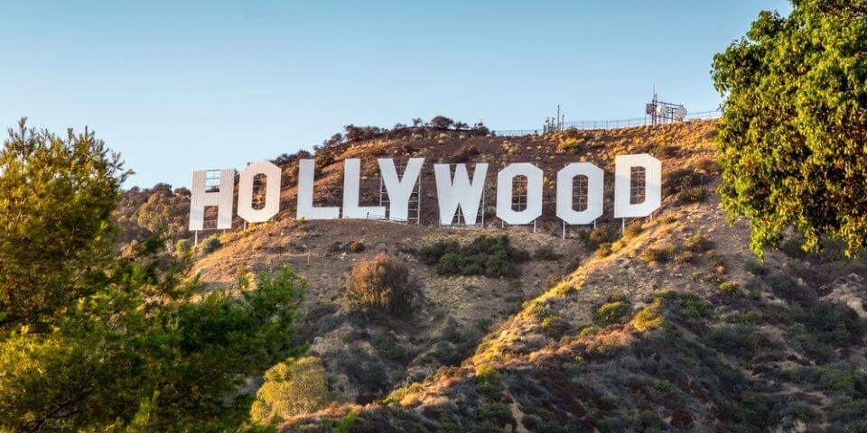 The Hollywood sign on top of the hill in Los Angeles, California.