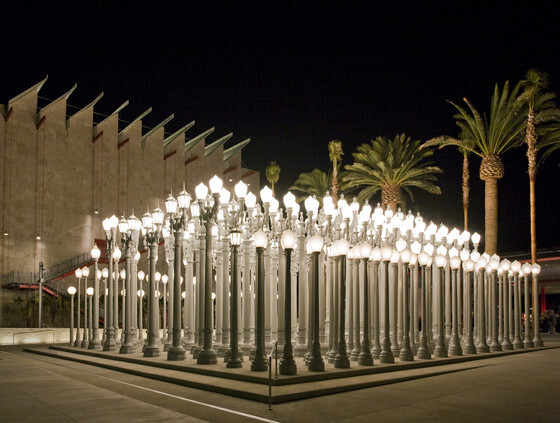 Exterior of the Los Angeles County Museum of Art (LACMA) at night.