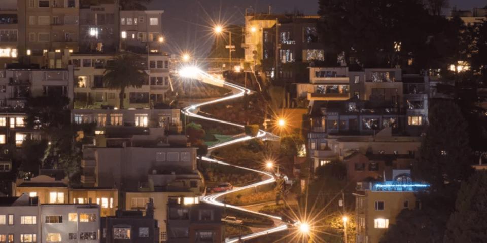 Aerial shot at night of Lombard Street in San Francisco.