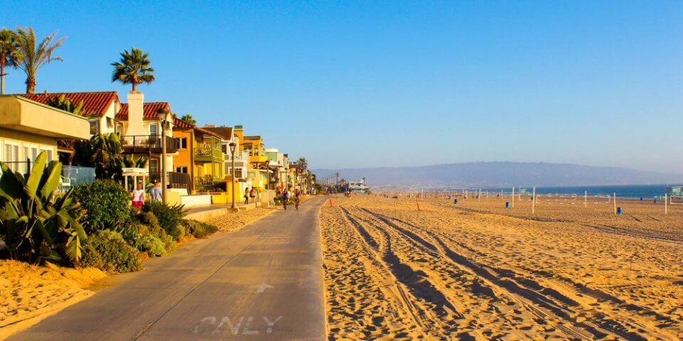 The boardwalk on Venice Beach during late afternoon.