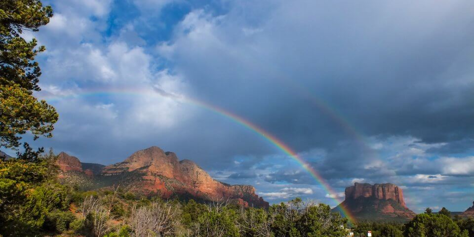 Double rainbows in this picture of Sedona.