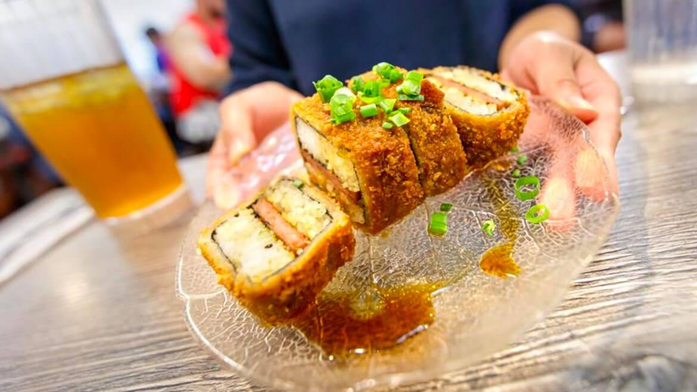 fried spam musubi at da kitchen on maui