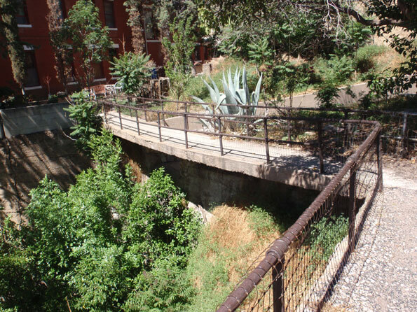 The bridge across a moat at the Oliver House in Bisbee, Arizona.