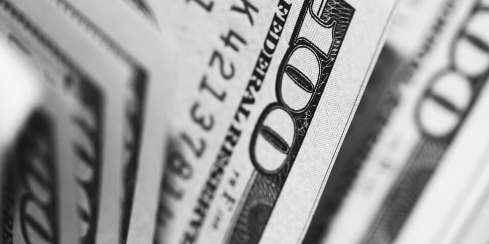 A large amount of hundred-dollar bills won from the Arizona Lottery.