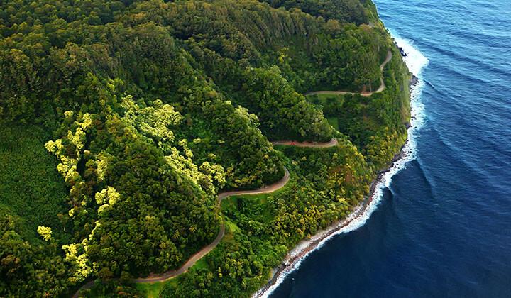The majestic and windy road to hana on Maui, hi