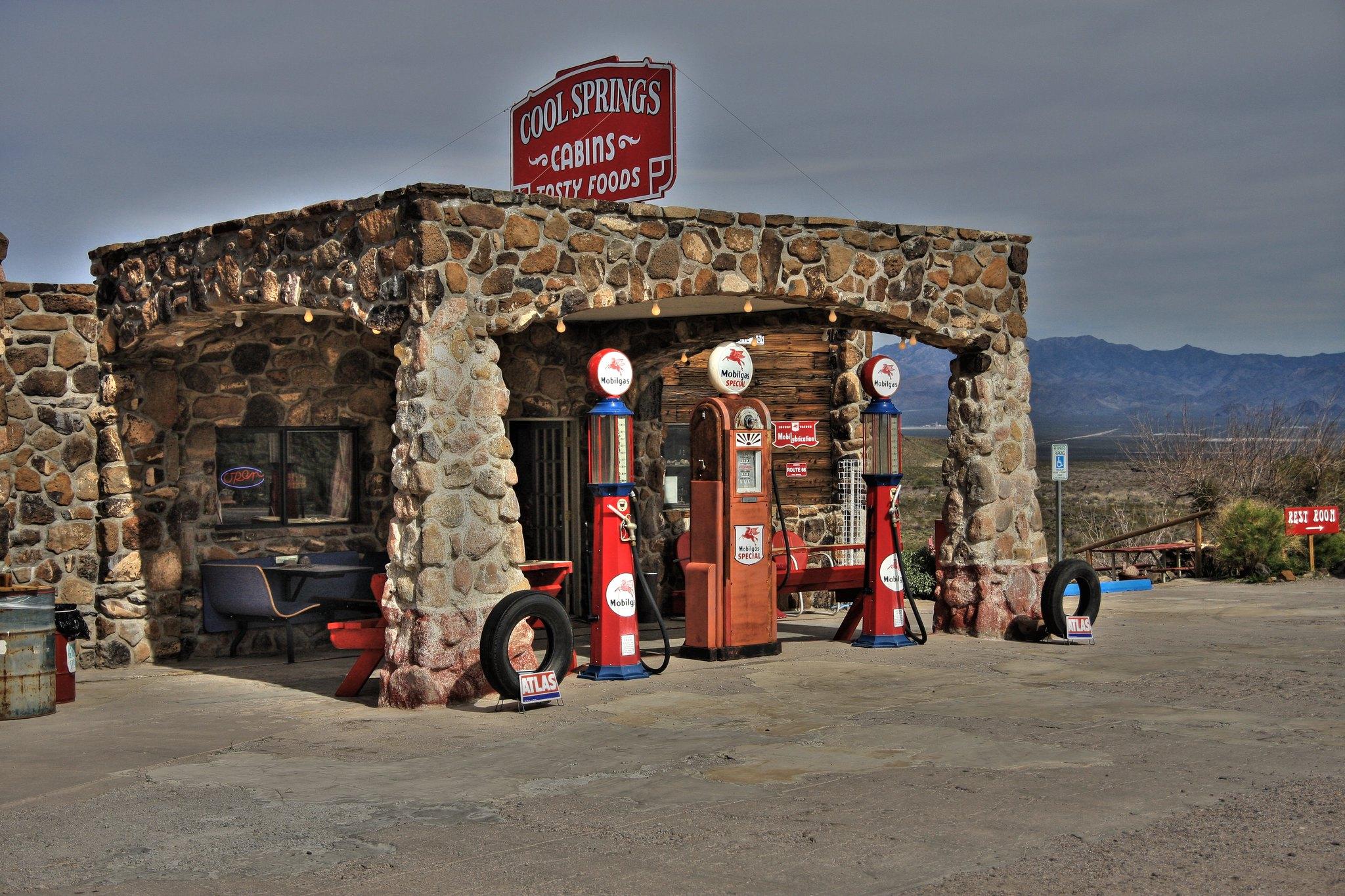 Old gas station in Oatman, Arizona.