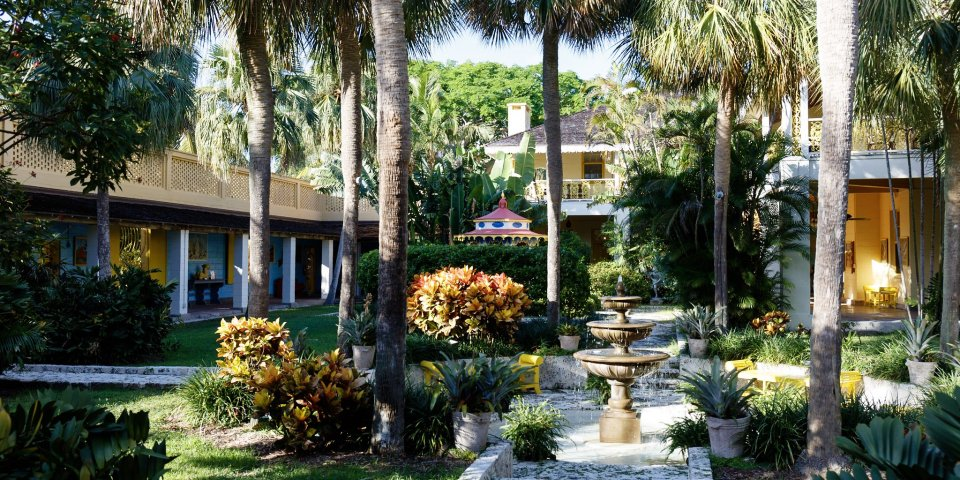 Exterior shot of the courtyard at the Bonnet House in Fort Lauderdale, Florida.