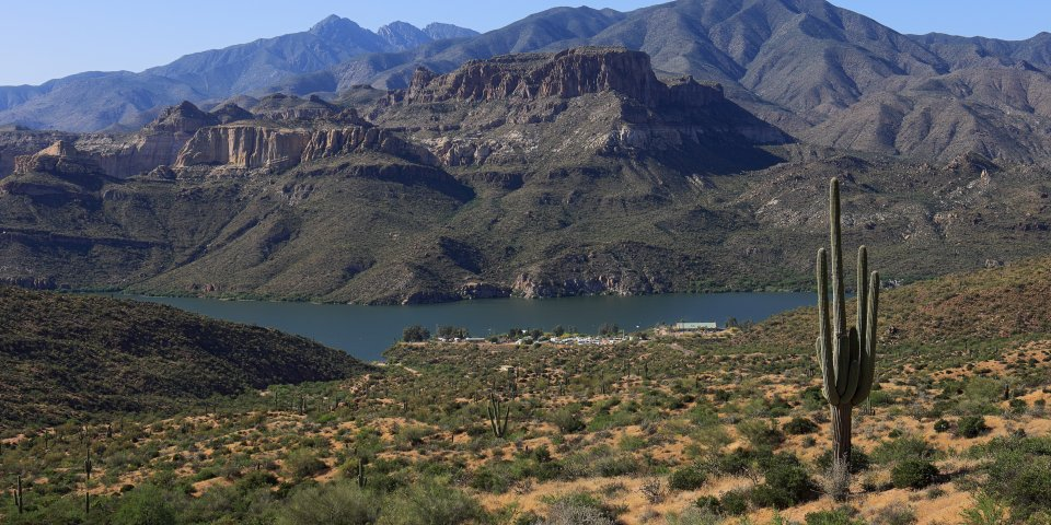 Apache Lake is one of the four lakes in Arizona fed by the Salt River.