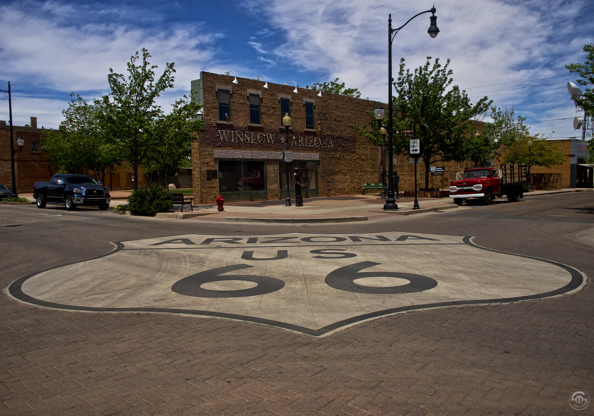 The famous corner in Winslow, Arizona mentioned in the Eagle's song.