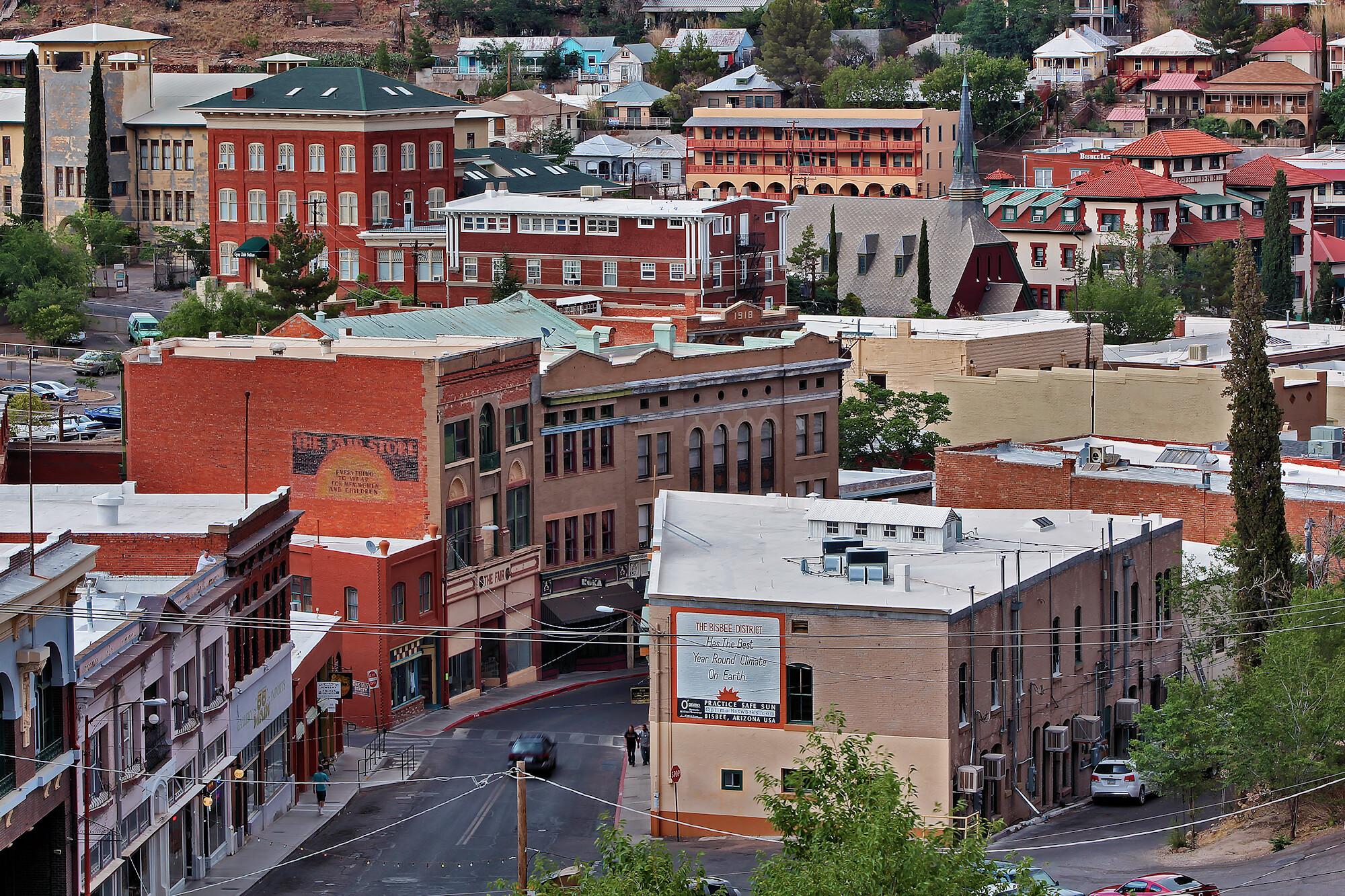 Aerial shot of downtown Bisbee, Arizona.