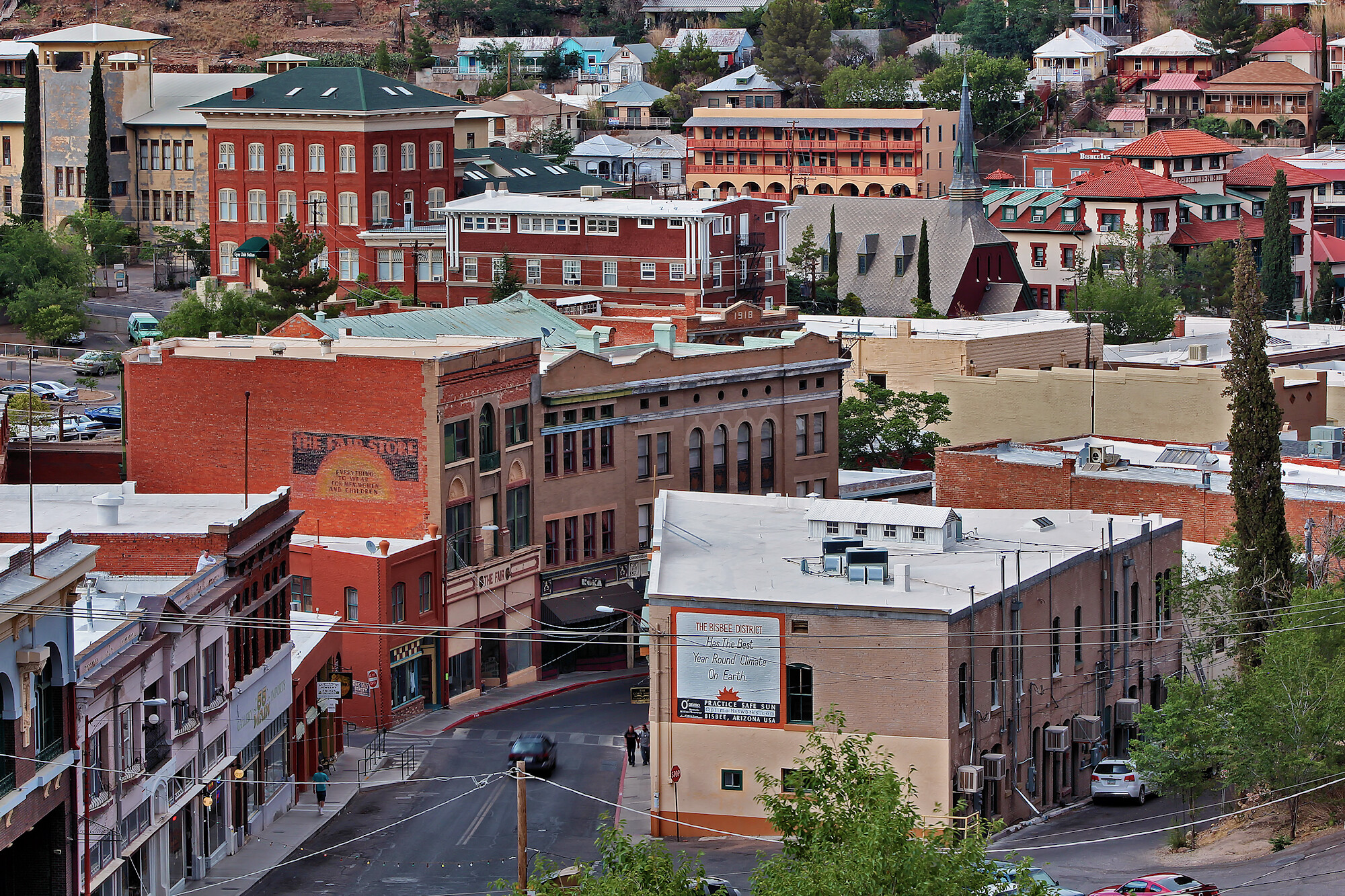 Aerial shot of downtown Bisbee, Arizona.