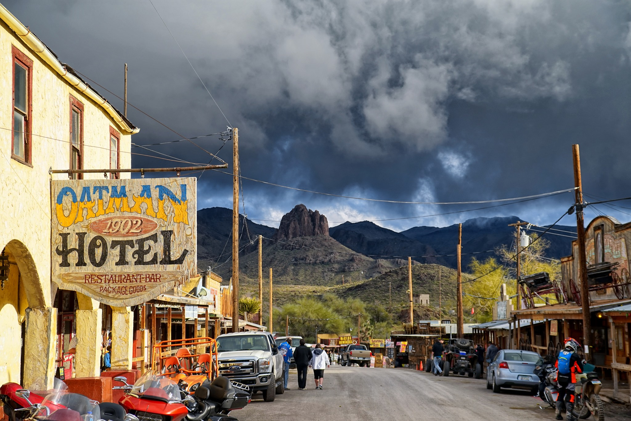 A storm is coming to downtown Oatman, Arizona