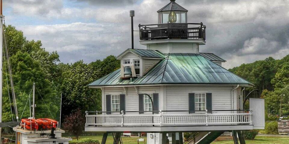 Hooper Strait Lighthouse, now a part of the Chesapeake Bay Maritime Museum in St. Michaels.