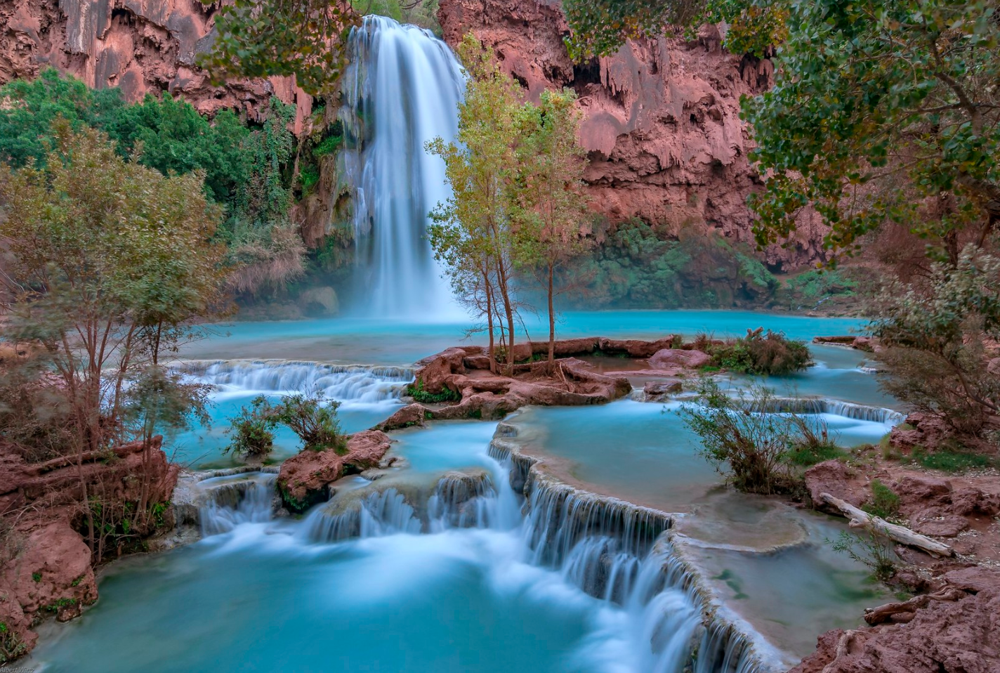 The beautiful blue waters of Havasu Falls truly makes this one of the most surreal places in all of Arizona.