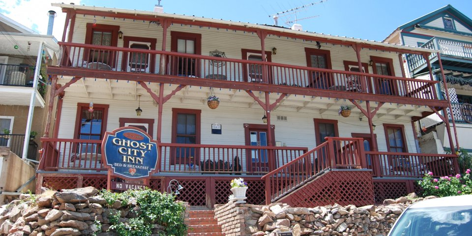 Outside Ghost City Inn in Jerome, Arizona.