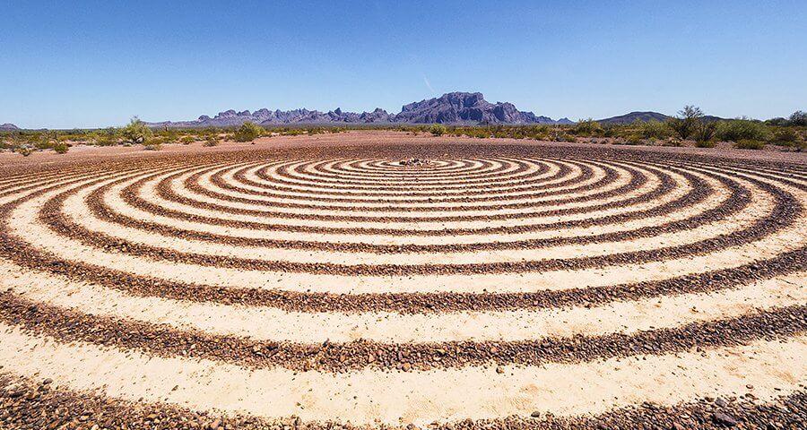 The Spiral Labyrinth in the Kofa National Wildlife Refuge in Arizona.