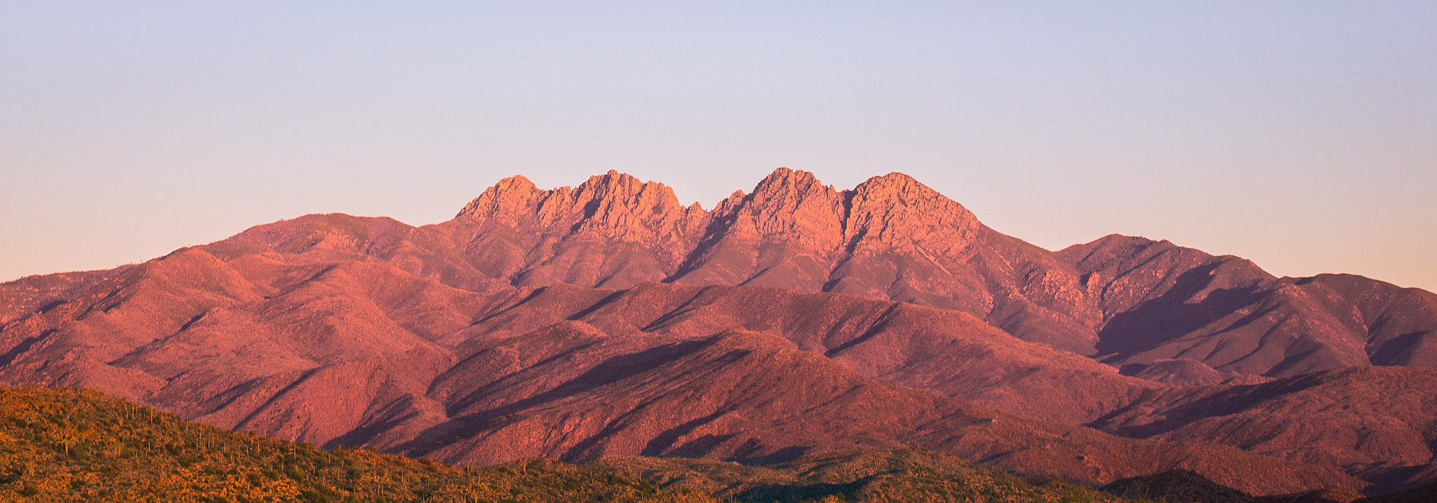 Landscape shot of Four Peaks in the Tonto National Forest.