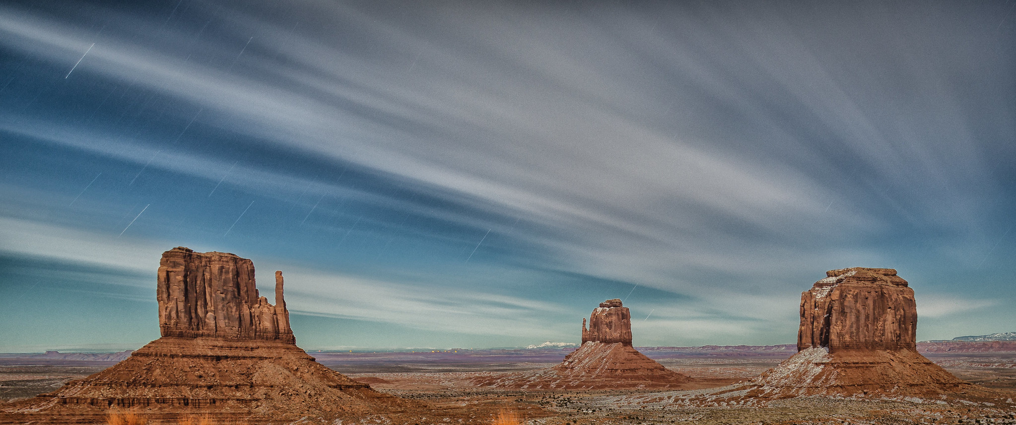 A night shot of Monument Valley is a perfect way to distract yourself from the coronavirus in Arizona.
