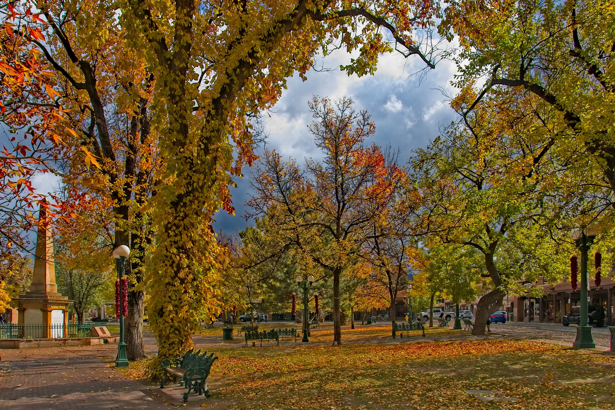 Santa Fe Plaza in the fall.